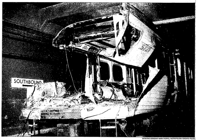 one of the subway trains involved in the crash, after the two were separated by TTC workers. Photo from the Toronto Star, August 14, 1995.