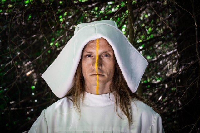 William Ellis plays a msyterious nun in Birdtown & Swanville's Even This Old Town Was A Forest. Photo by Natalie Novak.