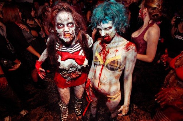 Models lurch the red carpet at the Zombie Fashion Show in Los Angeles. Photo by Nanette Gonzales.