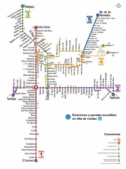 All of the stations on the first five lines of Mexico City's Metrobús are fully accessible. Map courtesy of Metrobús.