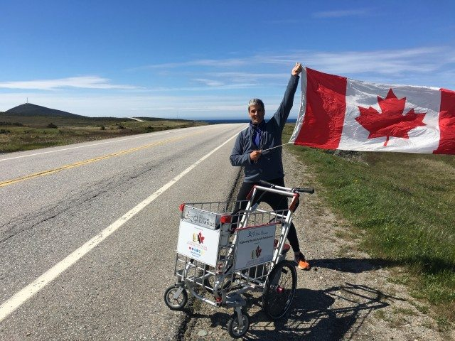 Jim Roberts is pushing a shopping cart across Canada to raise awareness about youth homelessness. Photo courtesy of The Push for Change.
