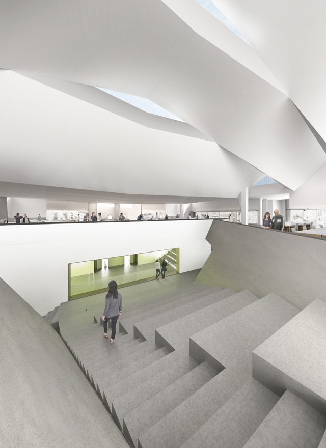 Rendering of the upper level atrium/ampitheatre space. Rendering by NADAAA, image courtesy of the Daniels Faculty.