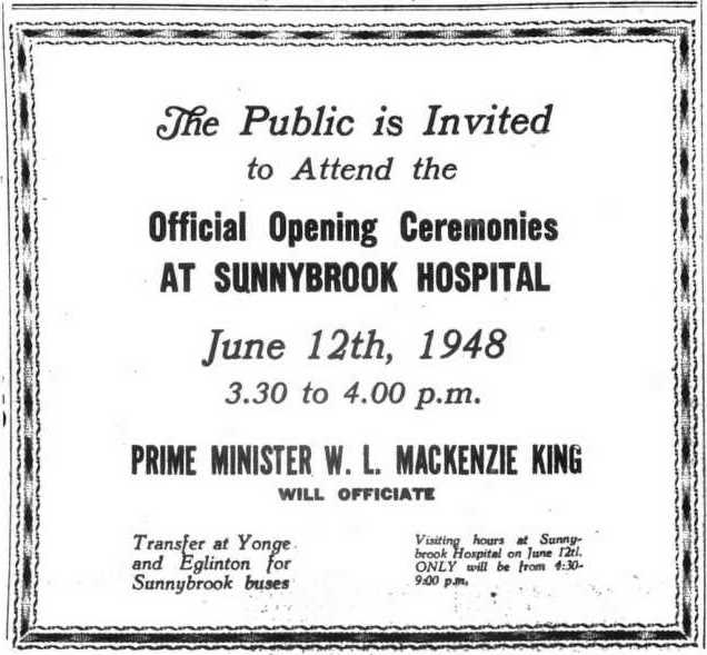 Invitation to attend the opening ceremonies.  The Globe and Mail, June 12, 1948.