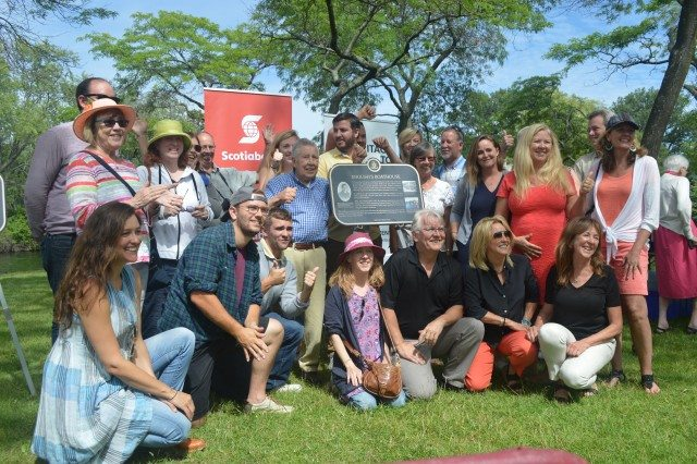 The extended English family gathered for the unveiling of the English's Boathouse plaque on the Island. Photo courtesy of Camille Bégin and Heritage Toronto.