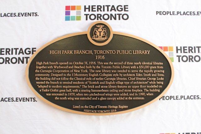 A bronze heritage property plaque for the High Park Library. Photo courtesy of Camille Bégin and Heritage Toronto.