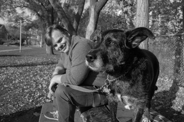 Pat Thornton may bring his dog Chicken to tonight's Fireside Tales. Photo by Kristan Klimczak.