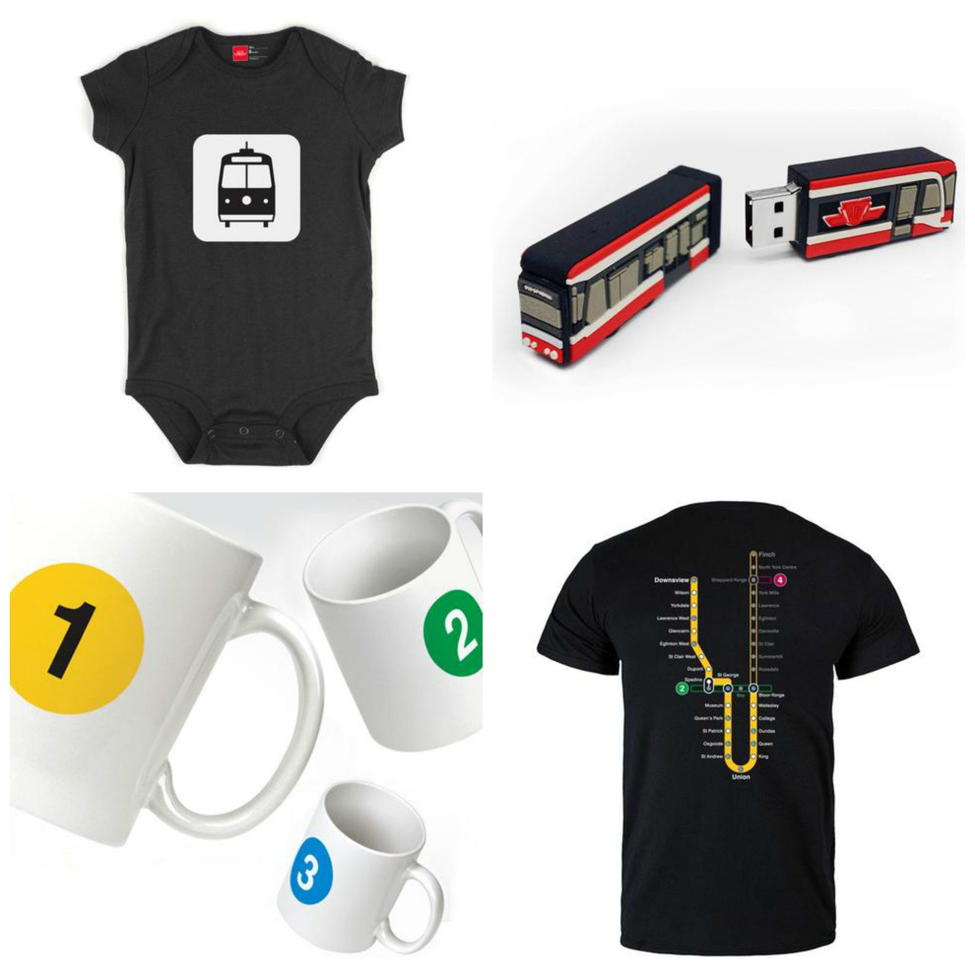 Items available in the new online TTC store: A baby picto onezie ($14), a streetcar USB flash drive (coming soon, $25), mugs ($10 each), and t-shirts ($29).