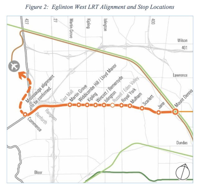 Map from the Eglinton West LRT Planning and Technical Update, p. 3.