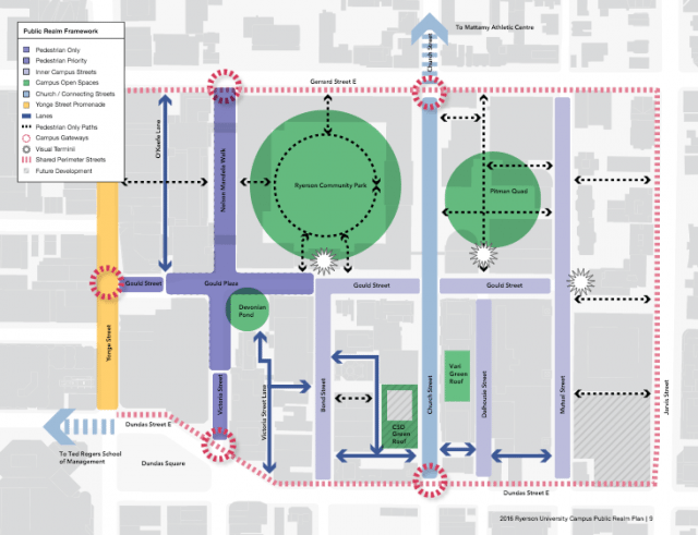 A map of Ryerson's campus. Photo courtesy of the Public Realm Plan.