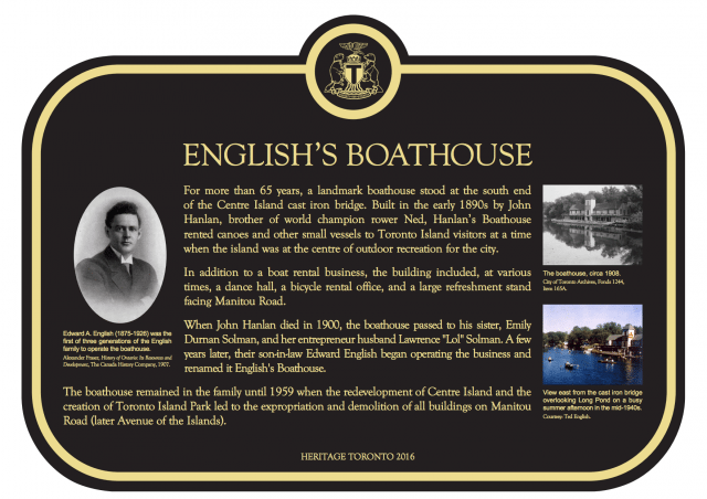 An image of the text on the English's Boathouse plaque shows historical photos that accompany the story on Heritage Toronto enamel plaques. Courtesy of Camille Bégin and Heritage Toronto.