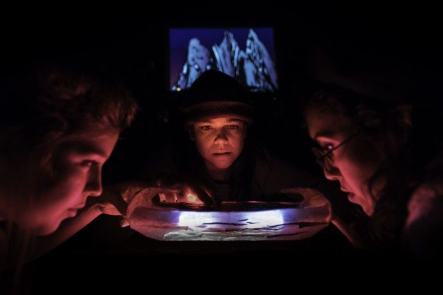 From left to right, Tess Benger, Kat Letwin, and Nicole Power in a scene from Chasse-Galerie. Photo by John Gundy.