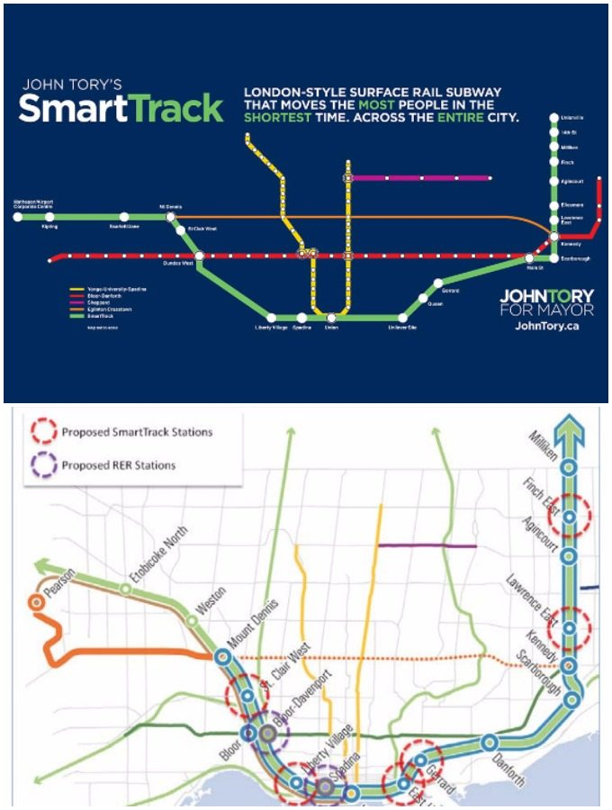 Above: SmartTrack's 22 stations—13 new—as promised during the 2014 campaign. Below: the current proposal. Despite only six new SmartTrack stations, it cannot be financed by tax increment financing alone, as promised during the campaign.