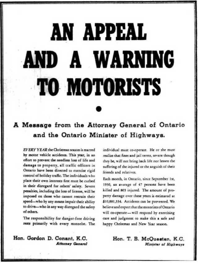 The Globe and Mail, December 22, 1939.