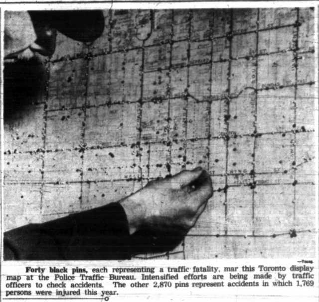 Police map, using pins to show the location of traffic fatalities in 1946.  The Globe and Mail, August 2, 1946.