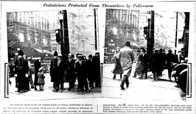 Toronto police teaching pedestrians to obey traffic lights.  The Globe and Mail, January 3, 1935.