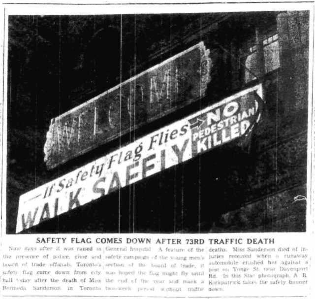 The safety sign is removed from City Hall.  The Toronto Star, December 23, 1940.