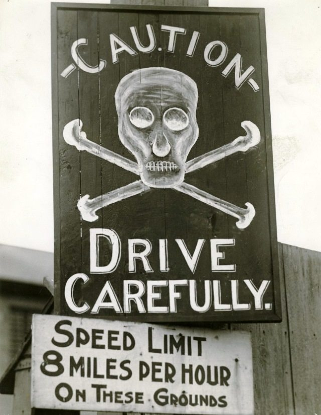 Sign posted near Stanley Barracks in 1922, after a driver hit a pedestrian.  Courtesy of the Toronto Public Library.