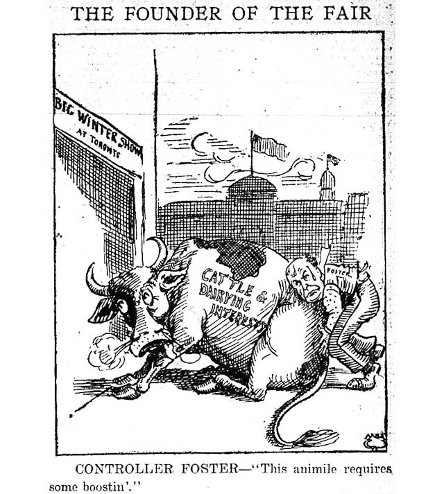 Oddly, the previous day's edition of the Telegram featured a cattle-centric cartoon by George Shields, which also depicts future Toronto mayor Thomas Foster. June 14, 1913.