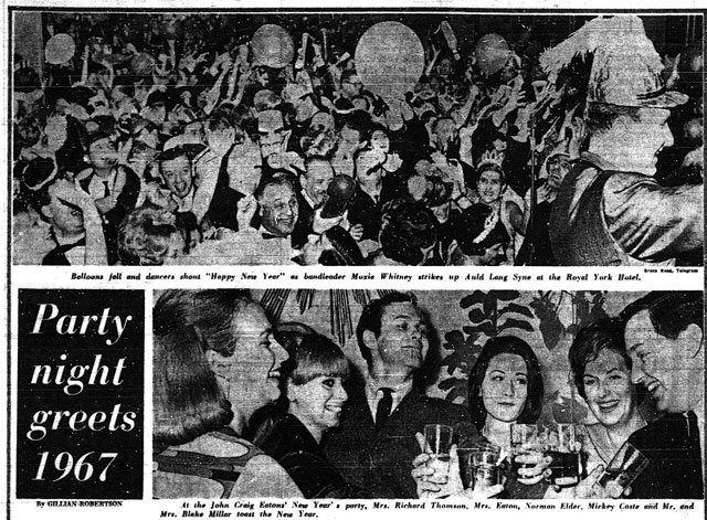 Scenes from parties around the city. The Telegram, January 3, 1967.