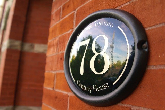 A century house plaque on a Toronto home. Any house over 100 is eligible for a plaque from Heritage Toronto. Photo courtesy of Heritage Toronto/Roberto Gasparini.