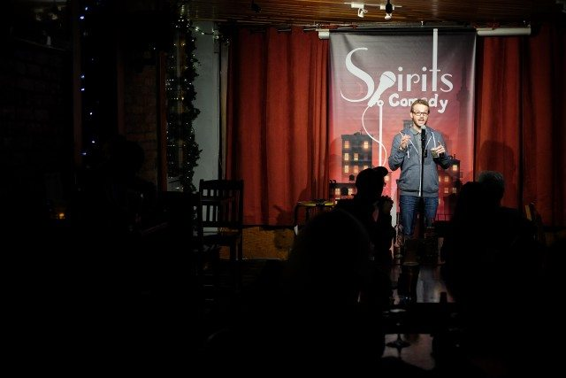 Cal Post hosted the 20th anniversary show of Spirits Comedy this month. Photo by Ryan Dillon.