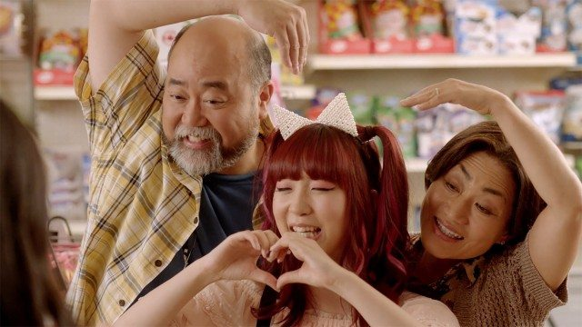 Smile! Left to right, Paul Sun-Hyung Lee, Soo Ram Kim, and Jean Yoon, in a still from CBC's Kim's Convenience.