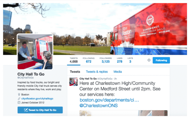 Boston's City Hall to Go uses Twitter to let residents know when and where they can access city services in their neighbourhood. Photo courtesy of City Hall to Go Twitter.