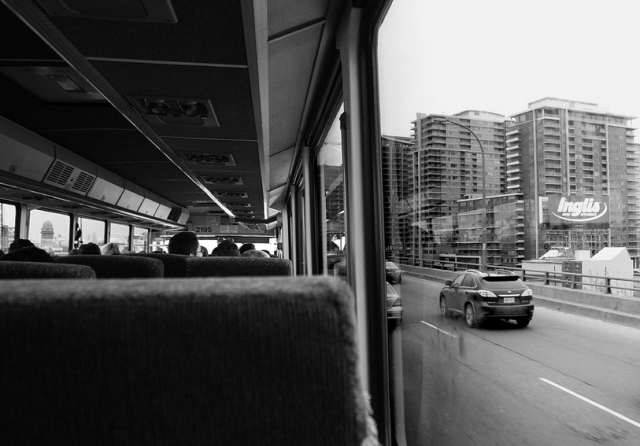 View of the Gardiner from a GO bus. Photo by MrDanMofo from the Torontoist Flickr Pool.