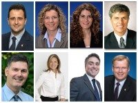 An effort led by rookie councillor Justin Di Ciano successfully reversed council's 2013 decision on ranked ballots. Seven councillors changed their vote. Clockwise from top left: Justin Di Ciano (Ward 5, Etobicoke-Lakeshore), Councillor Robinson (Ward 25, Don Valley West), Mary Fragedakis (Ward 29, Toronto-Danforth), Cesar Palacio (Ward 17, Davenport),  Gary Crawford (Ward 36, Scarborough Southwest), Anthony Perruzza (Ward 8, York West) Michelle Holland (Ward 35, Scarborough Southwest) Glenn De Baeremaeker (Ward 38, Scarborough Centre)