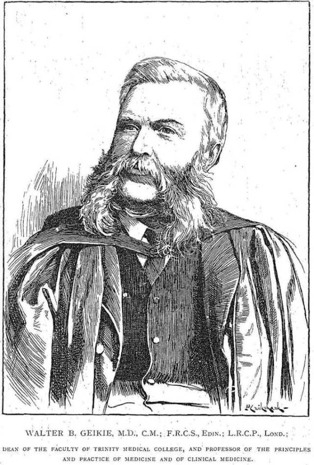 Dr. Walter Geikie.  The Canadian Practitioner, Vol. 14, No. 6.  March 16, 1889.