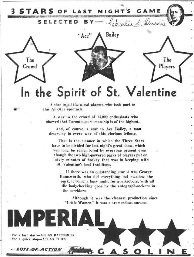 """The """"three stars"""" of the game, as selected by former Toronto St. Patrick's executive Charles Queerie.  The Globe, February 15, 1934."""