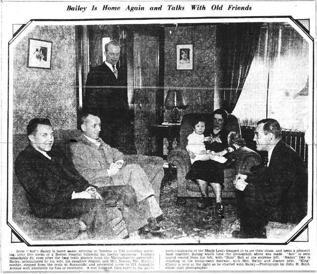 Ace Bailey at home on Armadale Avenue, just south of Bloor, with his wife, daughter, and teammates, on the day of his return.  The Globe, January 19, 1934.