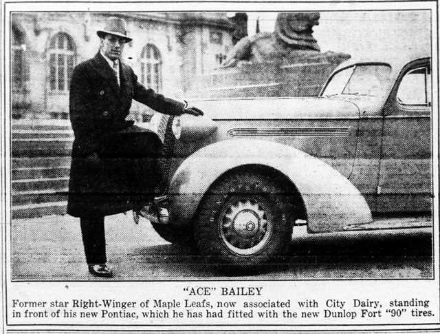 Ace Bailey, now an employee of the City Dairy and owner of a new Pontiac.  The Globe, February 24, 1936.