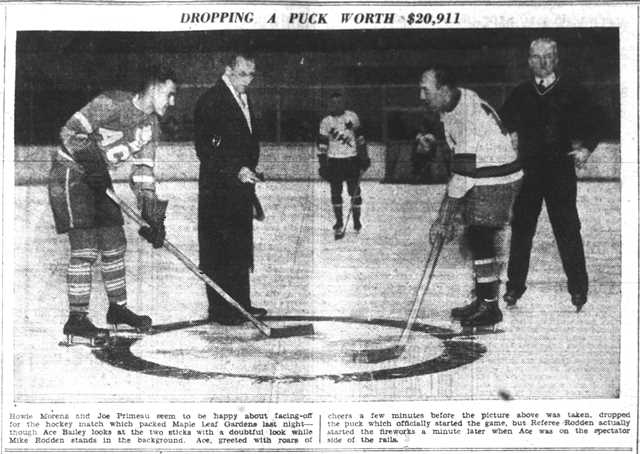 Ace Bailey drops the puck for Joe Primeau and Howie Morenz.  The Mail and Empire, February 15, 1934.