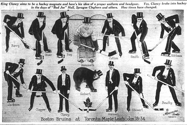 The Mail and Empire has some fun in anticipation of the Boston Bruins coming to Toronto.  The Mail and Empire, January 18, 1934.