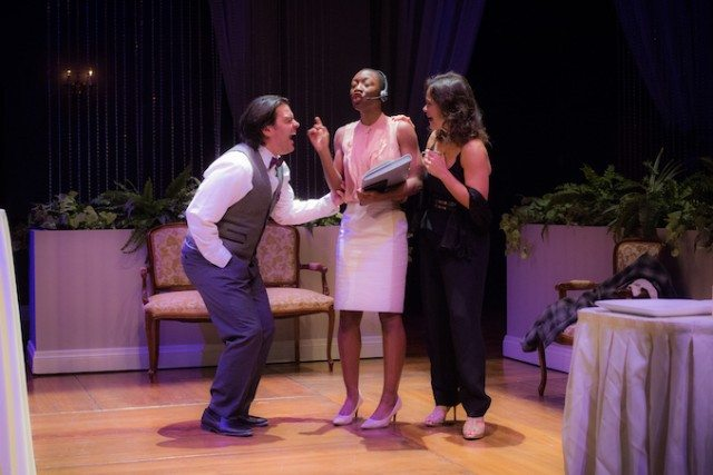 Left to right, Jason Cadieux, Virgilia Griffiths, and Kristen Thomson in a scene from The Wedding Party. Photo by Ryan Rowell.