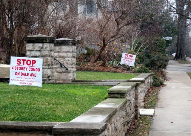 Lawns on Dale Avenue with Stop 4-Storey Condo signs