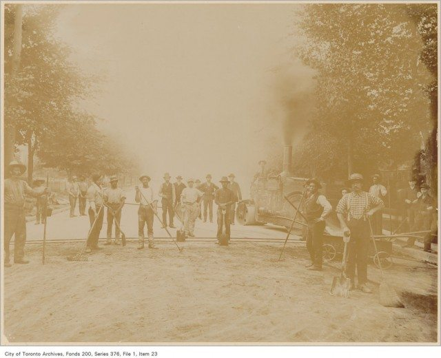 Black construction workers on Jarvis Street in Toronto in the 1890s. Photo from the City of Toronto Archives Fonds 200, Series 376, File 1, Item 23.