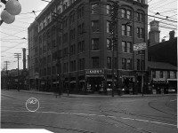 An office building at the northeast corner of Queen and Victoria Streets in 1919. The first permanent building of the First Baptist Church was at this intersection. Photo from the City of Toronto Archives  		Fonds 1231, Item 611.