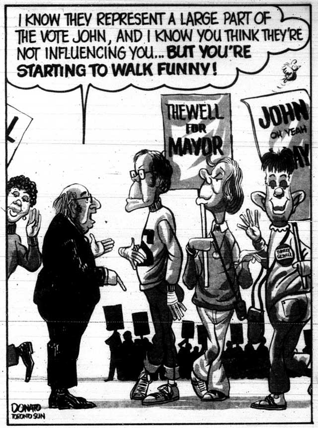 Comment on John Sewell's support of Toronto's gay community during the 1980 municipal election. Cartoon by Andy Donato, Toronto Sun, September 28, 1980.