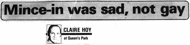 Typical Claire Hoy column headline. Toronto Sun, October 30, 1979.