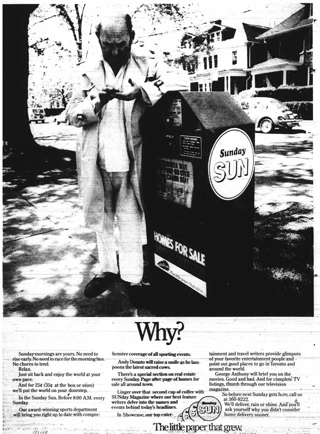 Advertisement, Toronto Sun, September 4, 1977.