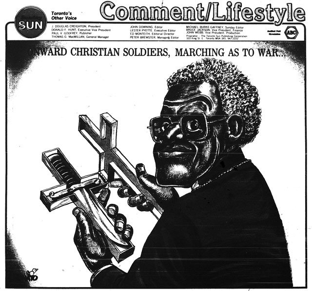 A more enlightened view of Desmond Tutu than some Sun columnists had. Cartoon by Andy Donato, Toronto Sun, June 1, 1986.