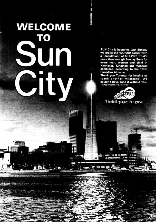 Advertisement, Toronto Sun, November 9, 1980.