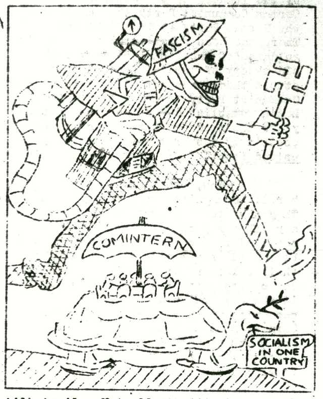Drawing featured in the April 1933 issue of October Youth, an official publication of the Spartacus Youth Club.