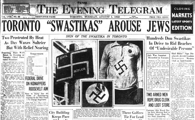 "The emergence of ""Swastika Clubs"" in Toronto. The Evening Telegram, August 1, 1933."