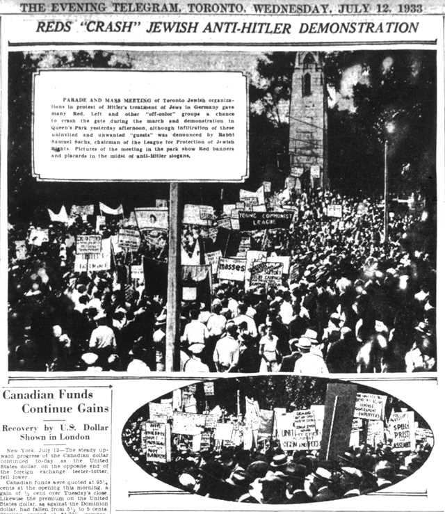 Coverage in The Telegram, July 12, 1933.