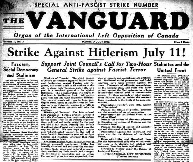 The front page of the July 1933 issue of The Vanguard.