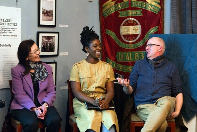 The Ward - Representations and Realities (left to right: Arlene Chan, author; Anique Jordan, artist; Andrew Hunter, AGO curator of Canadian art) from the 2016 Intersections festival. Photo by Justin Morris and used courtesy of Myseum of Toronto.