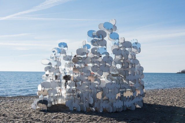 """BuoyBuoyBuoy,"" by a team of Toronto-based artists, is made up of hundreds of interlocking buoy-shaped pieces. Photo: Khristel Stecher 